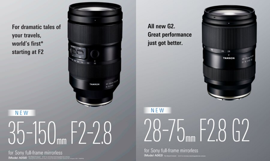 Tamron 35-150mm f/2-2.8 & 28-75mm f/2.8 Lenses Product Pages, Images Leaked